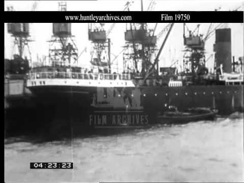 Thames River, 1920's.  Archive film 19750