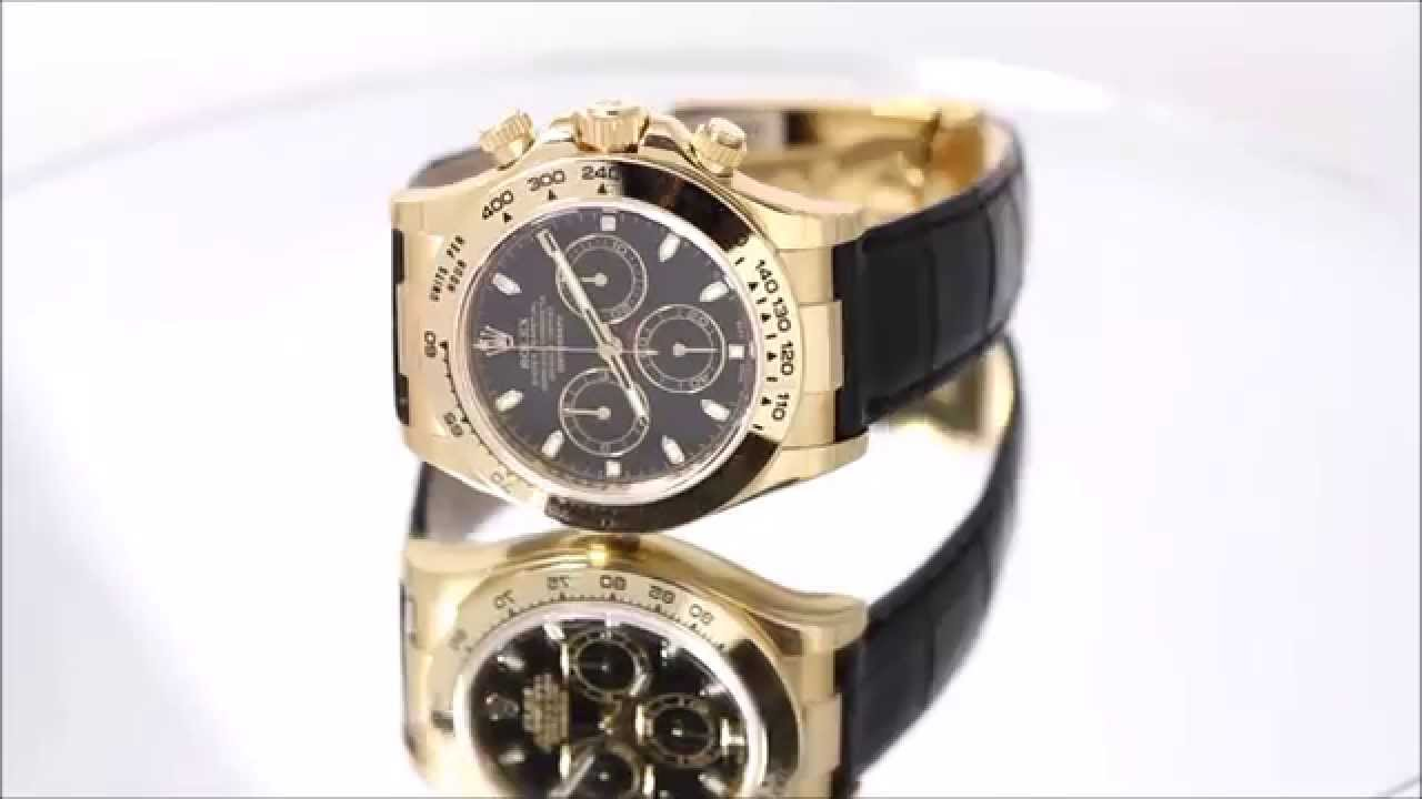 Rolex 18k Yellow Gold Daytona On A Leather Strap Watch Youtube