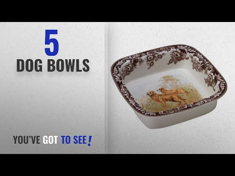 Best Dog Bowls [2018]: Spode Woodland Hunting Dogs Golden Retriever Square Rim Dish Oven To Table