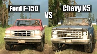 Spintires Mudrunner Ford F 150 vs Chevy K5 Blazer   You asked for it