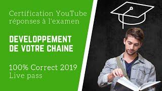 Réponses évaluation développement de votre chaîne | Certification YouTube | 100 % | En français