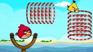 Angry Birds Slingshot Fun 2 - SHOOTING CHUCK AND RED THROUGH EVERY CIRCLE RINGS FULL LEVELS!