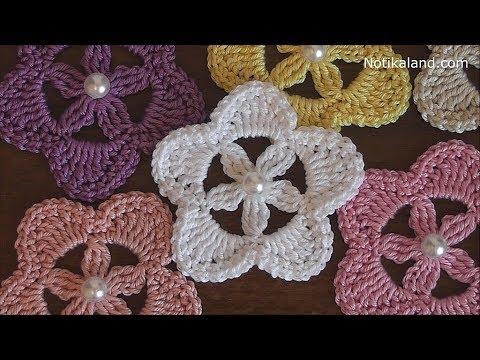 Crochet Flower Easy Crochet Flower Applique Youtube
