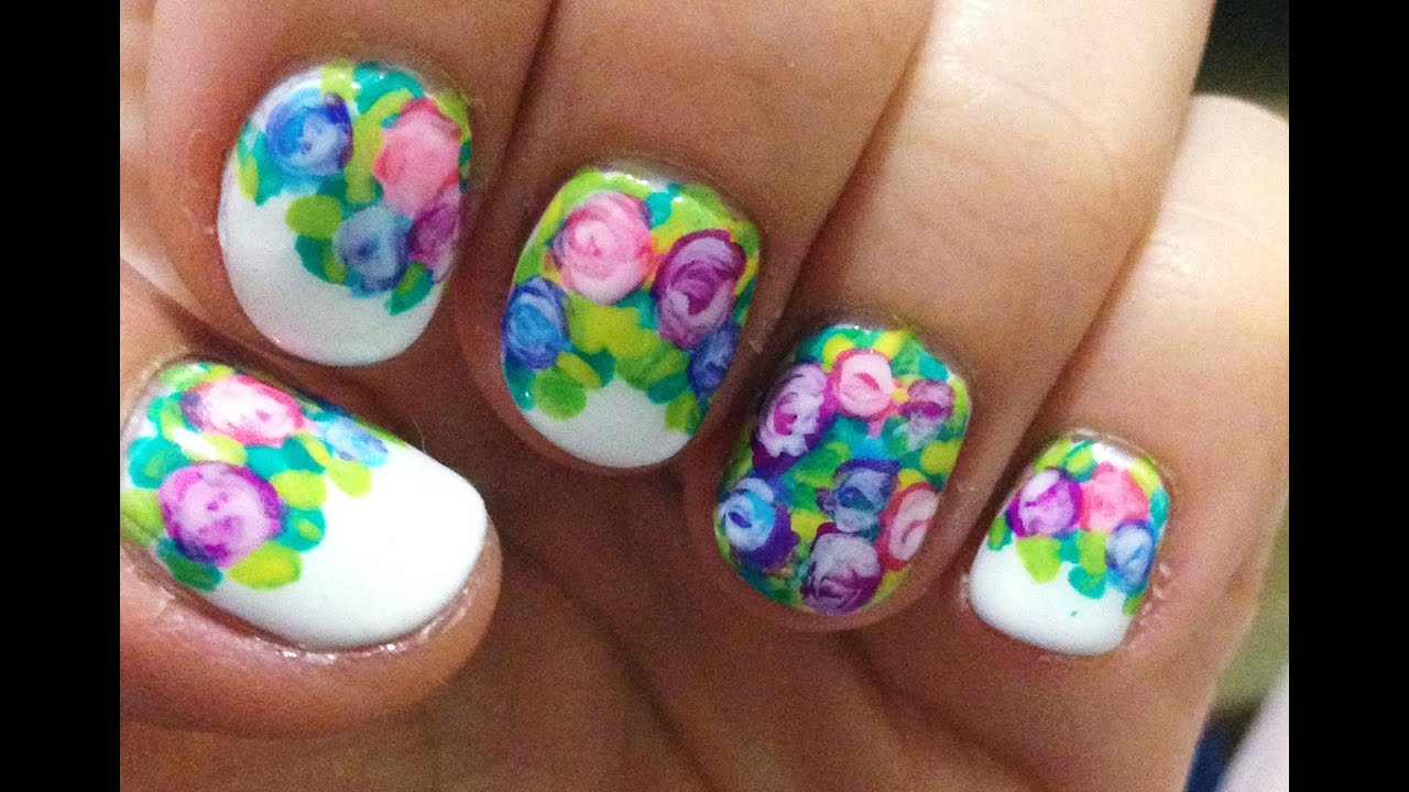 Uñas De Gel Decoradas Con Flores Nails Diseño De Uñas Facil Con Flores Youtube