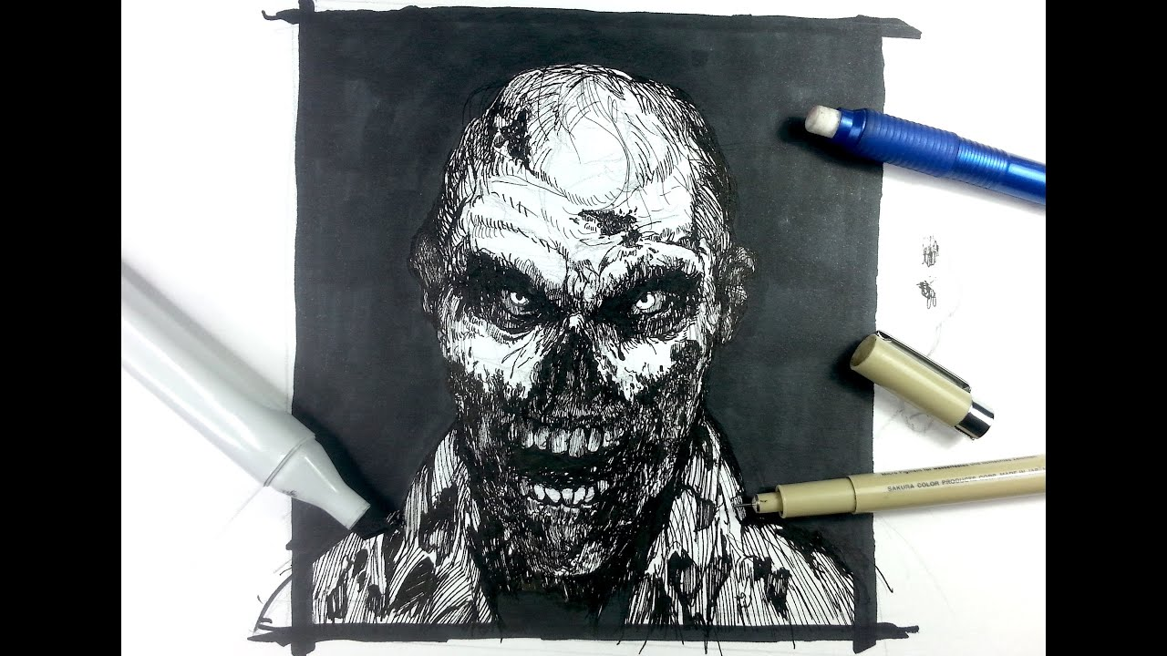 Zombie Face Line Drawing : Pen & ink drawing tutorials draw a zombie youtube