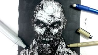 Pen & Ink Drawing Tutorials | Draw a zombie