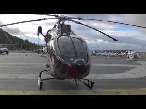 MD900 Helicopter takeoff AMTC Seattle 2012 Boeing Field Seattle KBFI