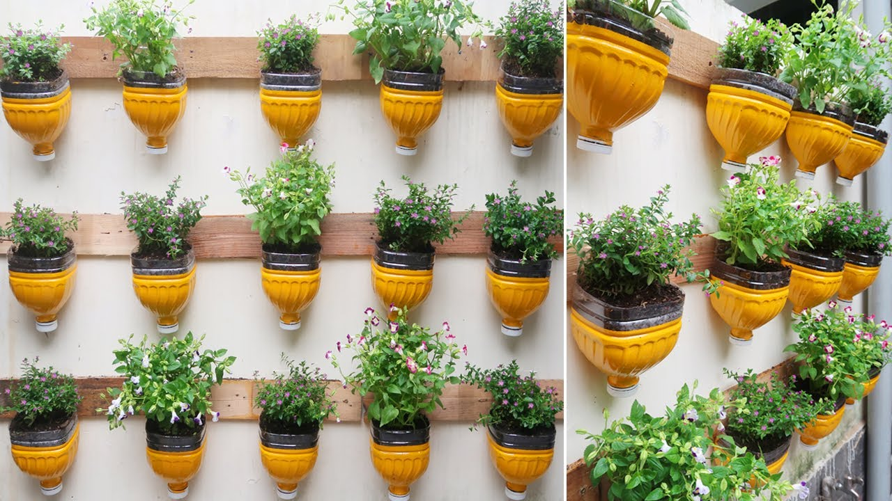 Recycling Plastic bottles into Beautiful vertical garden on Wall