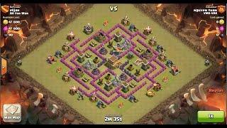 Clash of Clans TH8 vs TH8 Hog Rider & Healer Clan War 3 Star Attack