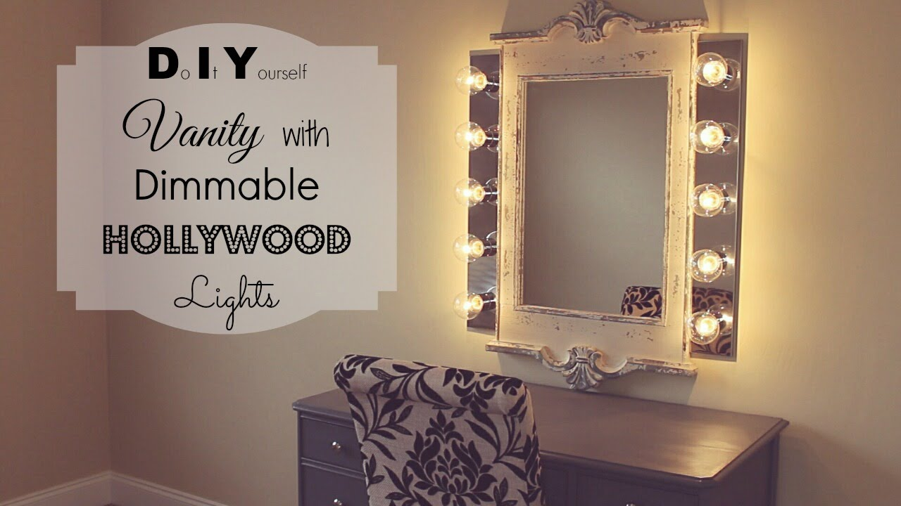 DIY Vanity with Dimmable Hollywood Lights - YouTube