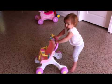 Tasha Luna Pushing Pink Fisher Price Walker Stroller Brilliant Basics