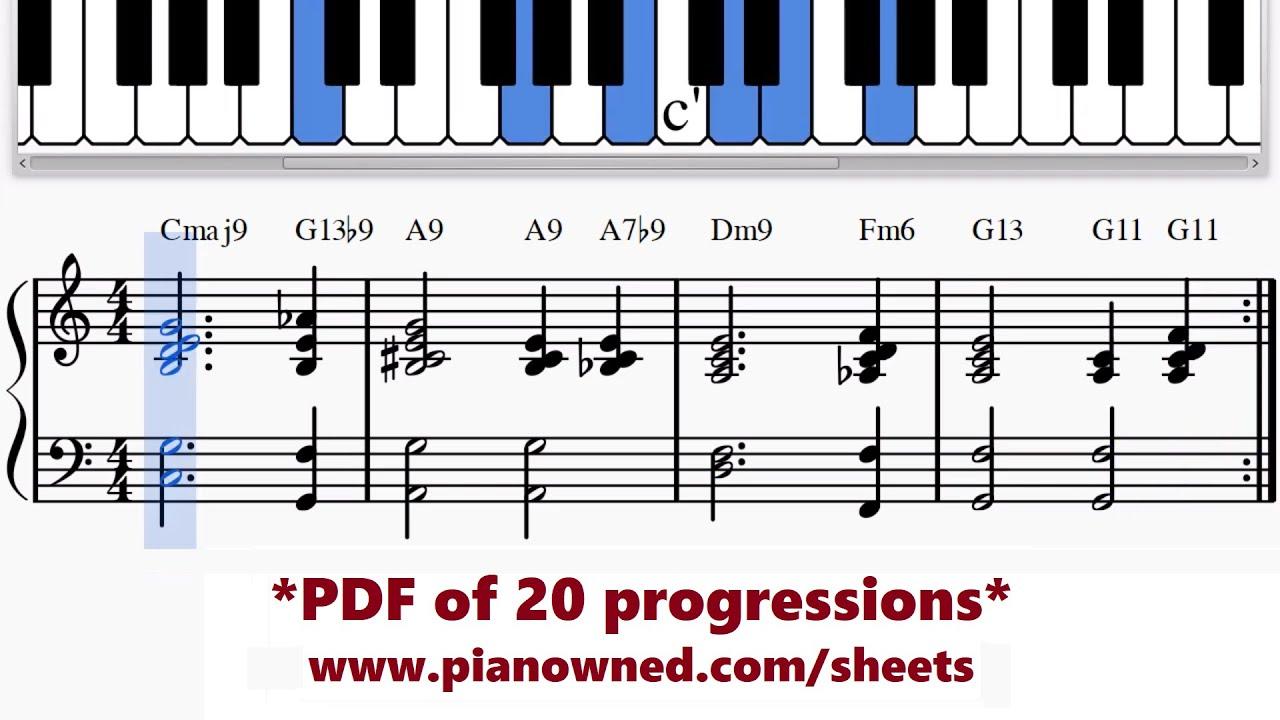 Jazz Piano 'Romantic' Chord Progression Cmaj15     G15b15   A15     A15b15    Dm15     Fm15   G15    G15