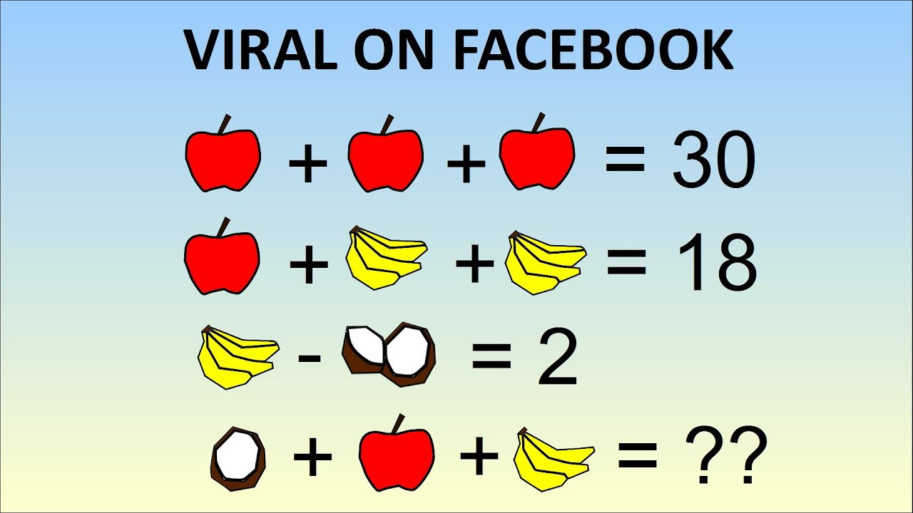 viral emoji math problem stumping the internet coconut plus  viral emoji math problem stumping the internet coconut plus apple plus banana