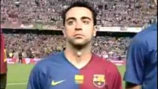 Barça and Athletic supporters against Spanish anthem