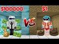 CUARTO DE $1 VS CUARTO DE $100000 💰😱!! - POBRE VS RICO MINECRAFT