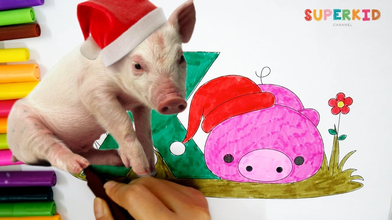 Coloring Pages Xmas : Letter x for xmas pig coloring pages learning colors for kid and