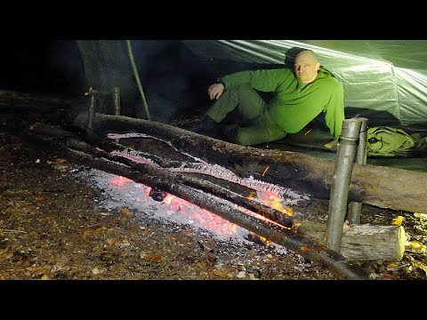 Sub Zero Survival Long Log Fire, Blizzard Bag and New Kit Test in the Forest