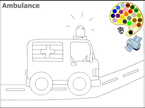 ambulance coloring pages for kids ambulance coloring pages - Ambulance Coloring Pages Kids