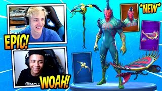 "NINJA REACTS TO *NEW* FLYTRAP SKIN, ""VENUS FLYER"" GLIDER AND TENDRIL PICKAXE! Fortnite Moments"