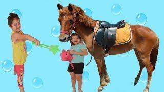 Elif Öykü and Masal Made a Horse fun kid video, Little Kids Riding A Horse