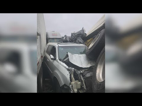 Woman survives massive 100-plus-car pileup in Fort Worth, crawls out her back window