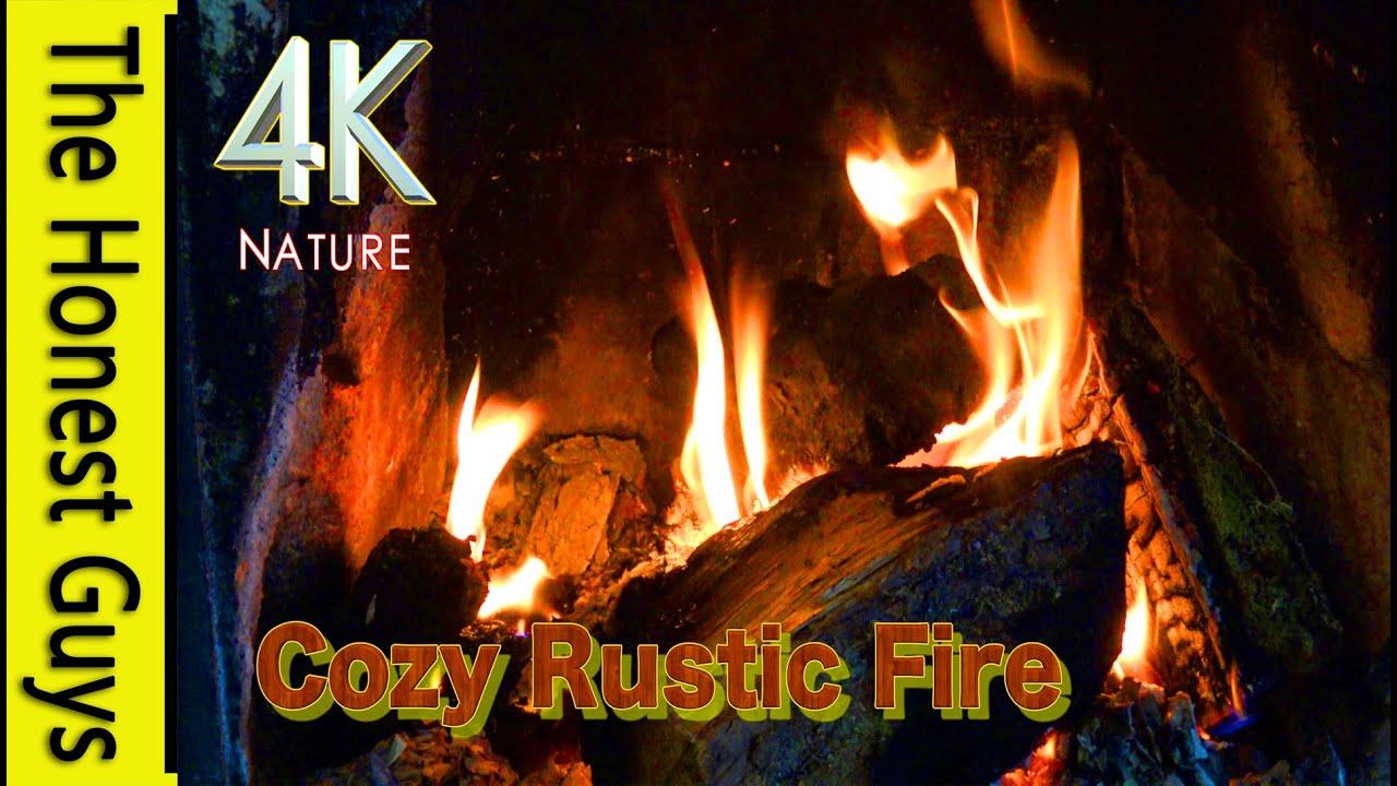 4K COZY RUSTIC FIREPLACE VIDEO