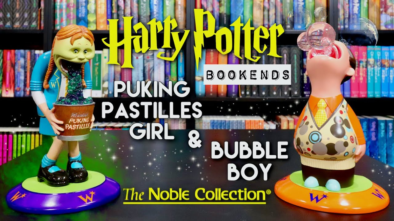 Unboxing the Harry Potter Puking Pastilles Girl and Bubble Boy Bookends by The Noble Collection