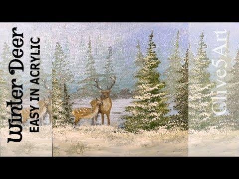 Easy Snowy Christmas Tree Amp Deer Acrylic Painting Tutorial