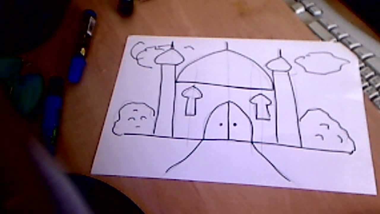 islamic art - how to draw a mosque in just 2 mins