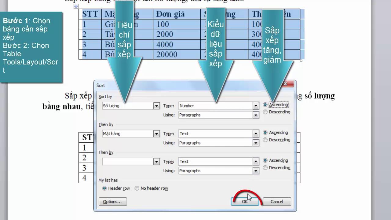 Sắp xếp dữ liệu trong bảng word 2010