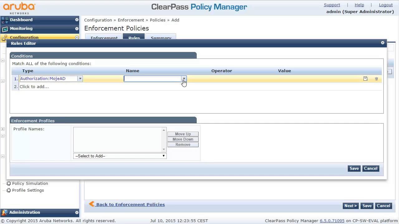 ClearPass dot1X AD role assign EN