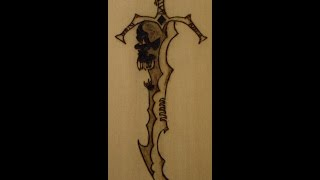 Pyrography - Woodburning : How to draw-burn a Sword.
