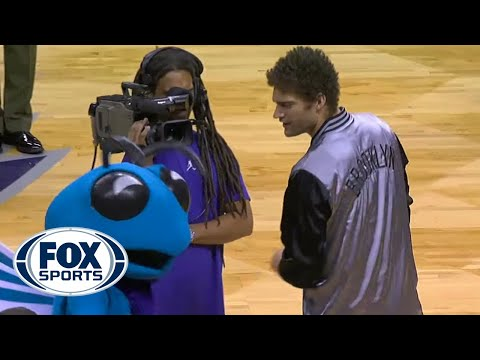 Brook Lopez helps out brother Robin in their war against NBA mascots