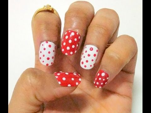 Simple Nail Art Design Using Dots Polka Dots Nail Art Design