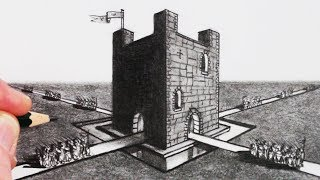 How to Draw using 2-Point Perspective: Draw a Castle Step by Step