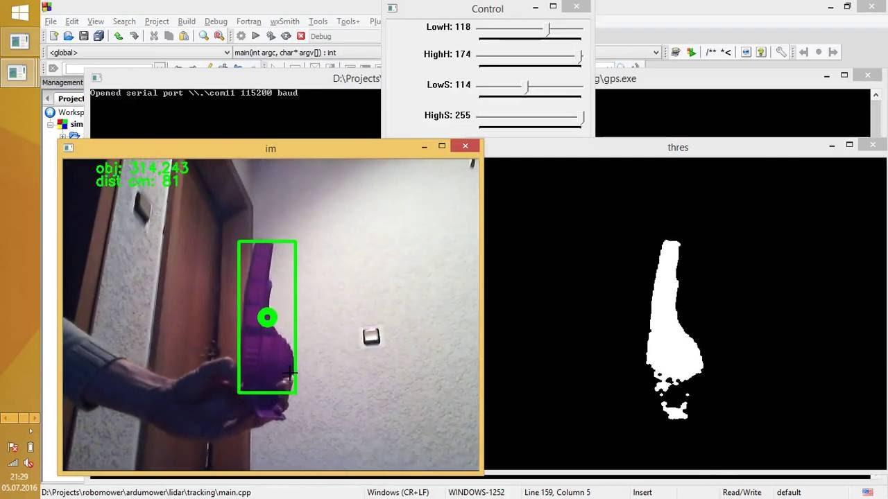 opencv marker scanning and distance measuring (servos+lidarlitev2