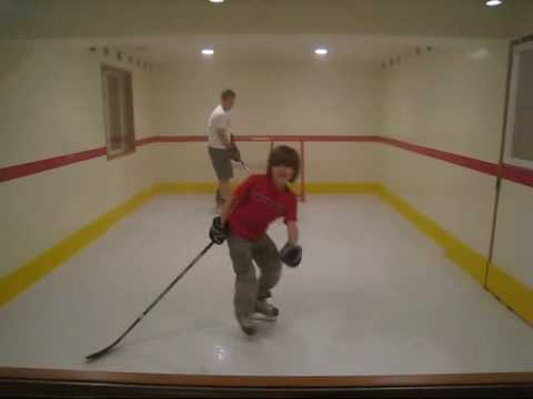 Synthetic Ice Kwik Rink In Our Basement Youtube