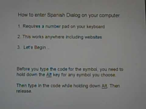 How To Type Spanish Symbols On Your Pc Youtube