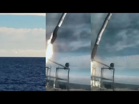 Falcon Heavy central core crashing into the ocean