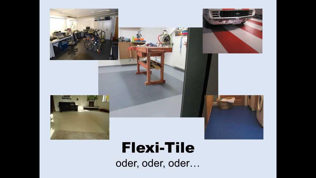 video flexi tile pvc bodenbelag f r haus und garage youtube. Black Bedroom Furniture Sets. Home Design Ideas