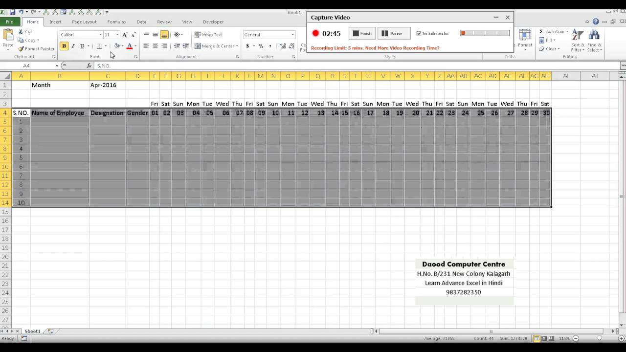 Employee attendance sheet Creation in Excel in hindi - YouTube