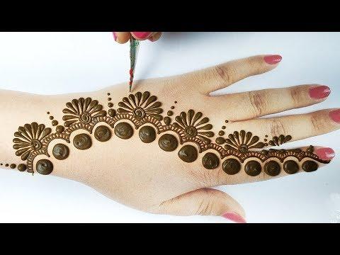 Easy Mehndi design - आसान गोल टिक्की मेहँदी डिज़ाइन लगाना सीखे, Easy Mehndi Design for Backhand