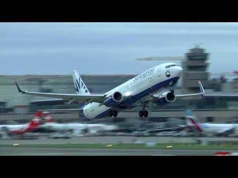 SunExpress Boeing 737-800 landing & takeoff at Zurich Airport