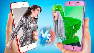Девушка iPhone vs девушка Android! Если бы предметы были людьми!