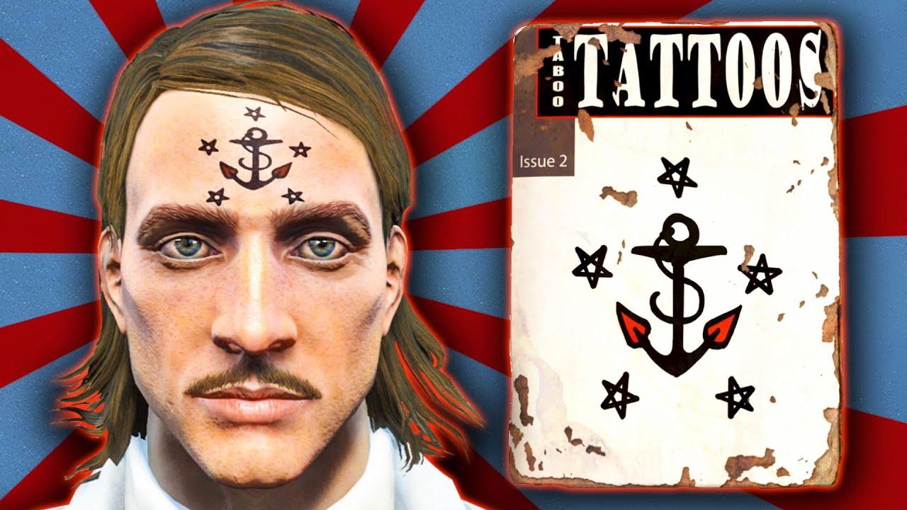 Fallout 4 Taboo Tattoos Nautical Anchor Unique Facial Tattoo Guide Guide