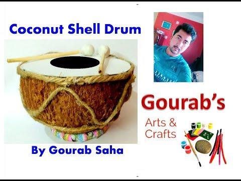 DIY || Coconut shell Drum or Tabla || Coconut Shell Craft || Waste Material Craft || Handicraft