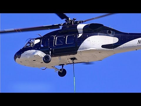 Sikorsky UH-60A Blackhawk Sets Edison Power Pole In Mill Creek Canyon