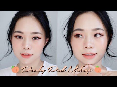 SUMMER PEACHY PINK LOOK | KOREAN MAKEUP TUTORIAL - YouTube