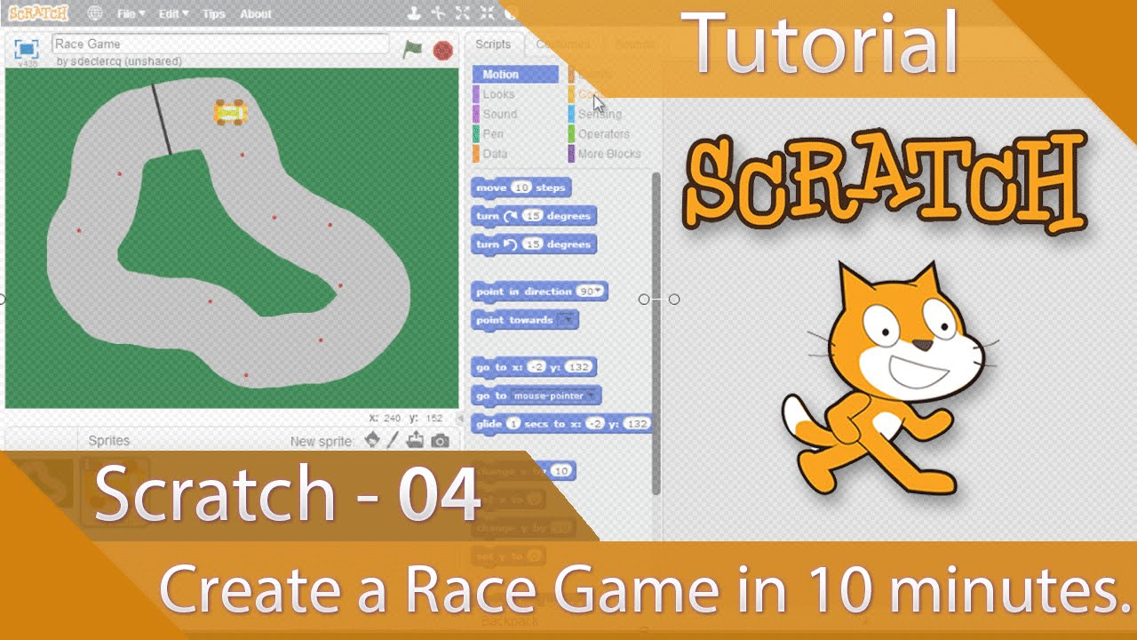 How to make a easy racing game on scratch
