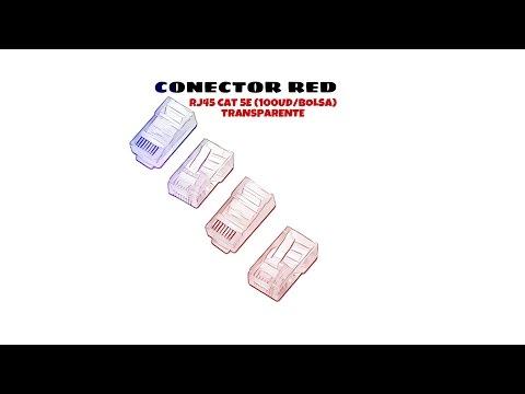 Video de Conector RJ45 CAT5e (100ud/bolsa)  Transparente